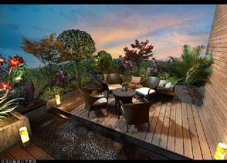 屋顶露天花园阳台max模型