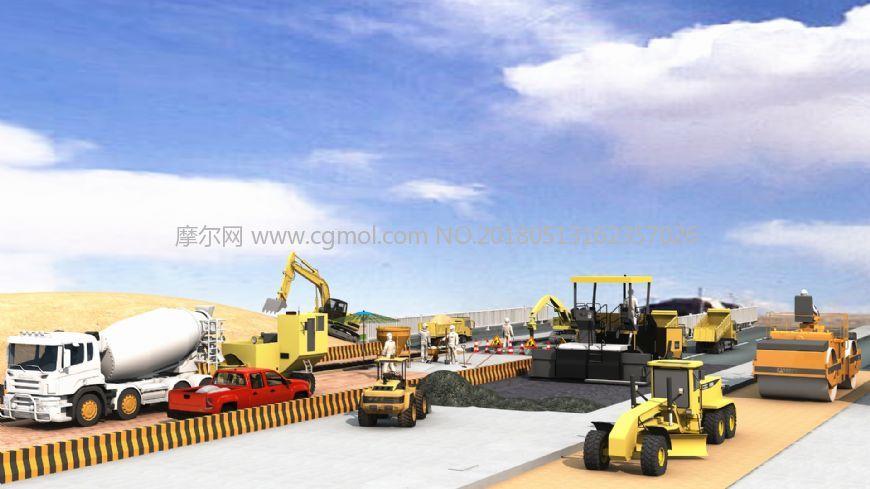 大型施工�C械修路3d模型