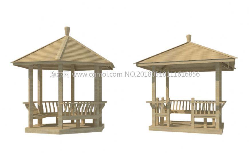 木质四角亭六角亭精模型