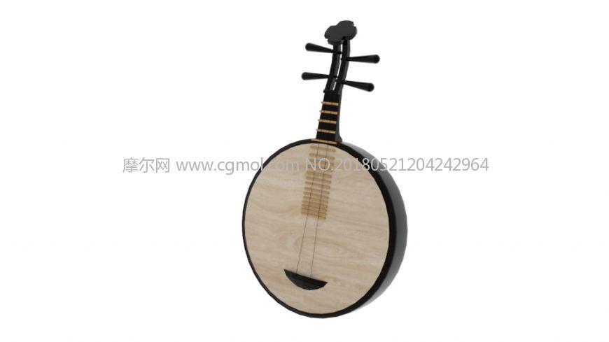 乐器琵琶月琴maya模型