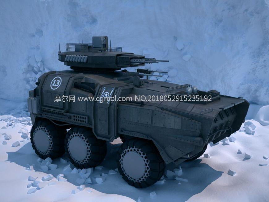 超精细科幻风格装甲车,步战车max模型