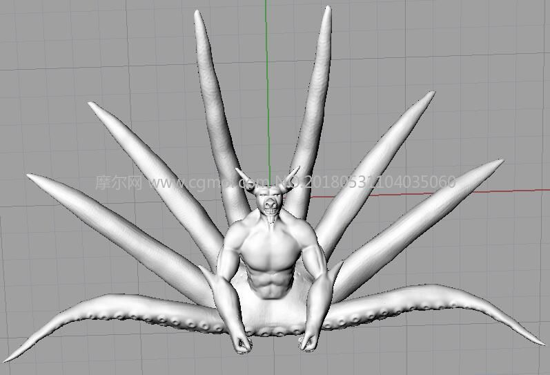 牛头章鱼,八尾模型,火影忍者,obj,stl格式