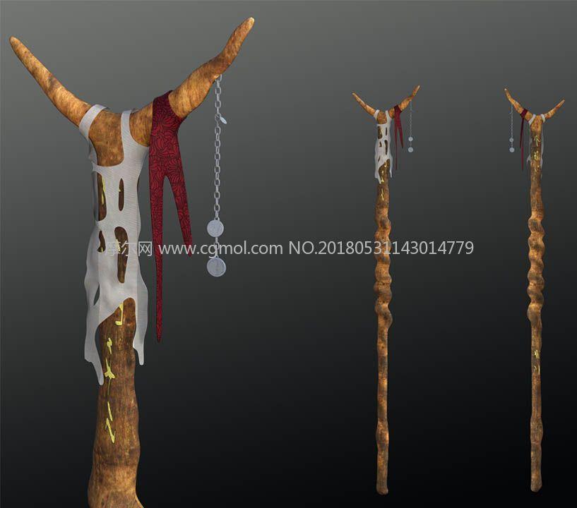次时代游戏中的一款法杖obj模型