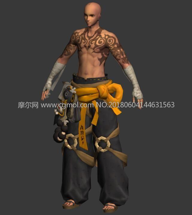 剑灵纹身和尚,达摩皮肤max模型