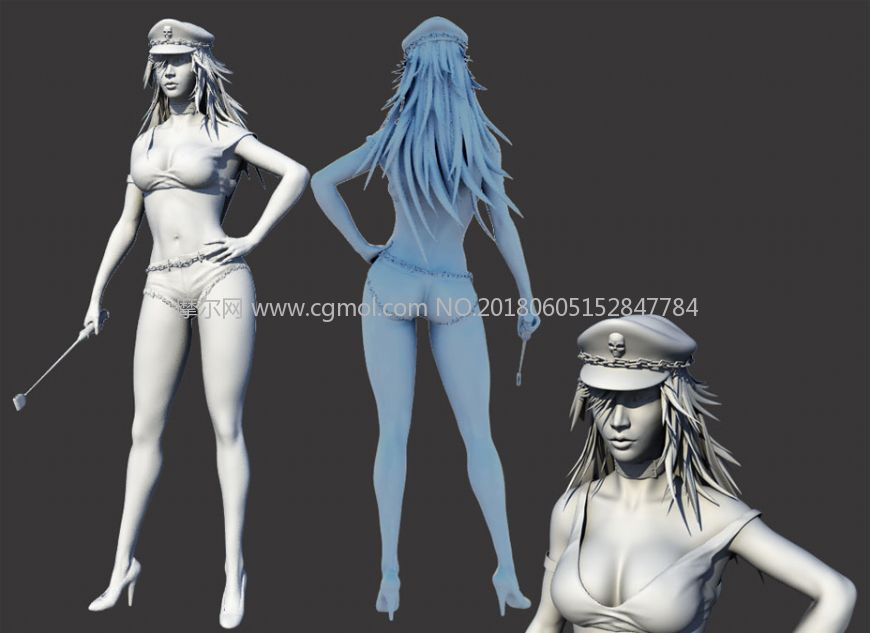 长腿性感女教官,警察OBJ模型