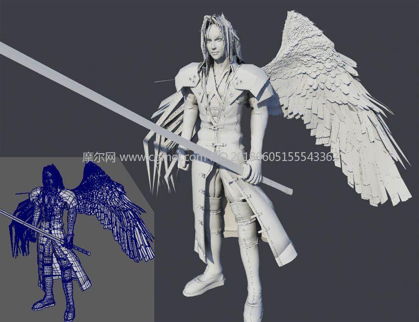 半个翅膀的萨罗菲斯maya模型