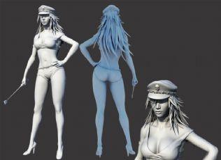 �L腿性感女教官,警察OBJ模型