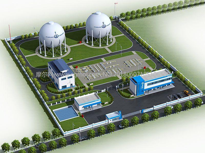 重燃燃气储备站四面建模