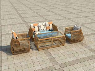 藤椅沙发茶几