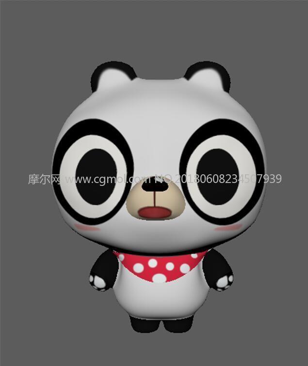 卡通萌萌哒熊猫maya模型