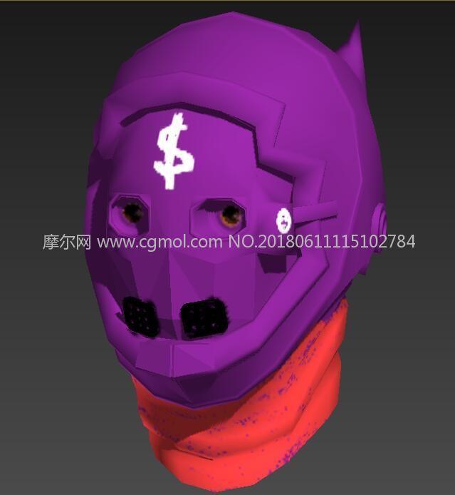 紫色调3D头部面罩,头盔
