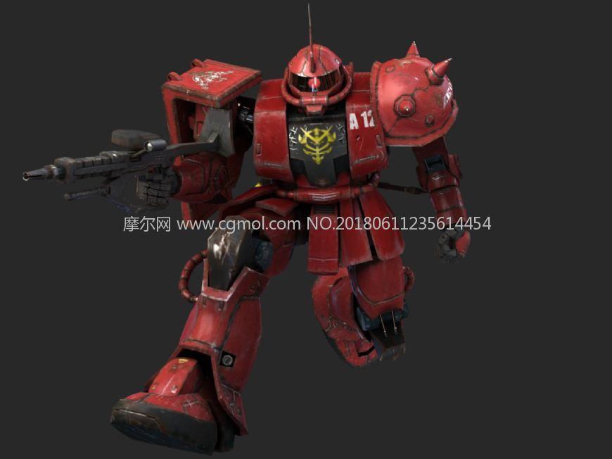 红色扎古模型,带武器