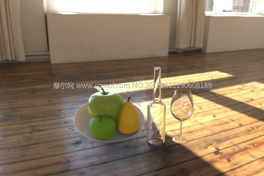 酒杯,酒瓶,水果果盘,无贴图