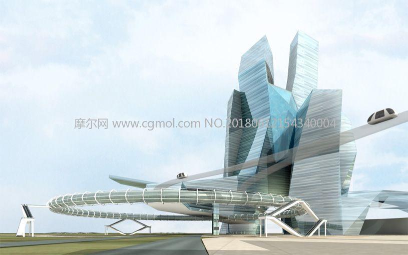 未来高速轨道列车车站设计,异形建筑(网盘下载)