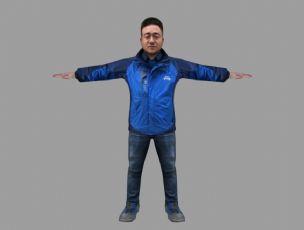 蓝色冲锋衣矮胖角色,写实人物,FBX,MAX格式