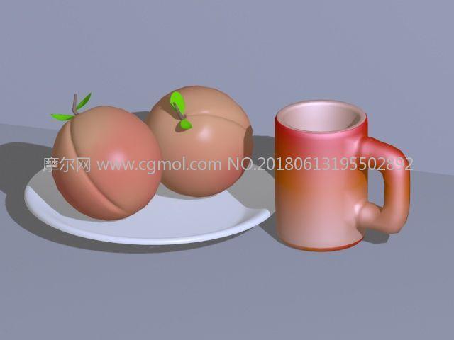 卡通桃子+水杯