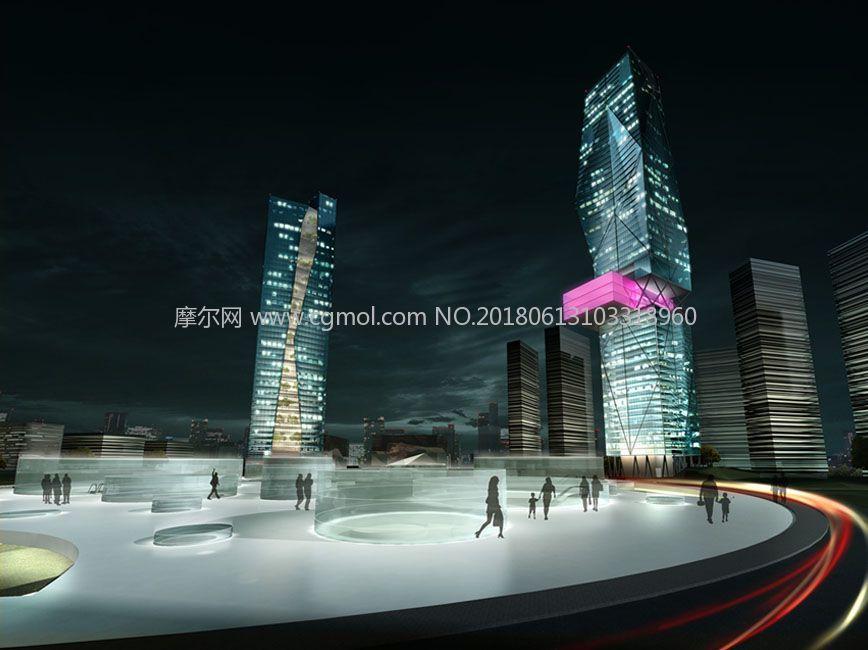 现代摩天大楼max模型(网盘下载)