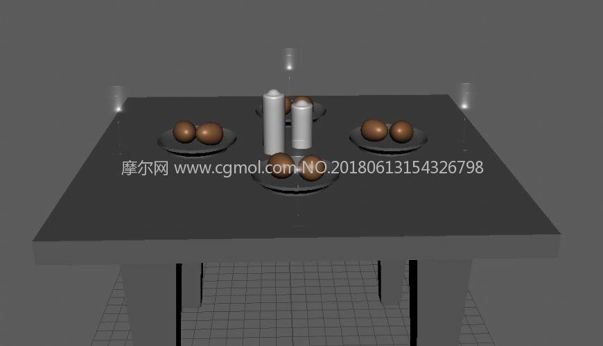 室内家居(桌子,蜡烛,玻璃杯,鸡蛋)maya模型