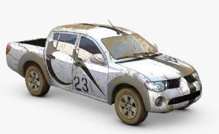 泥泞里出来的皮卡车C4D精细模型