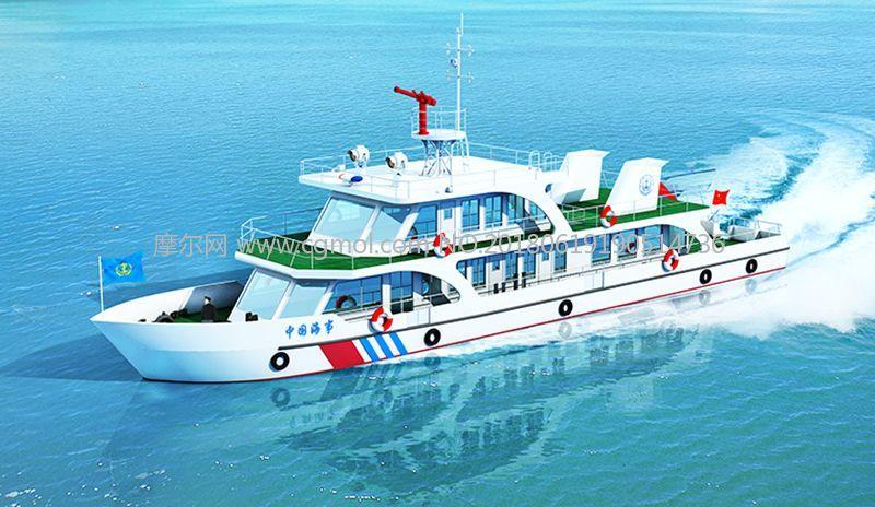 航道养护船,执法船max模型,有贴图无灯光