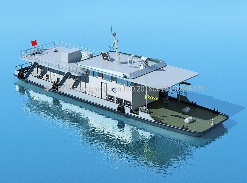长江测量船,水文船max模型