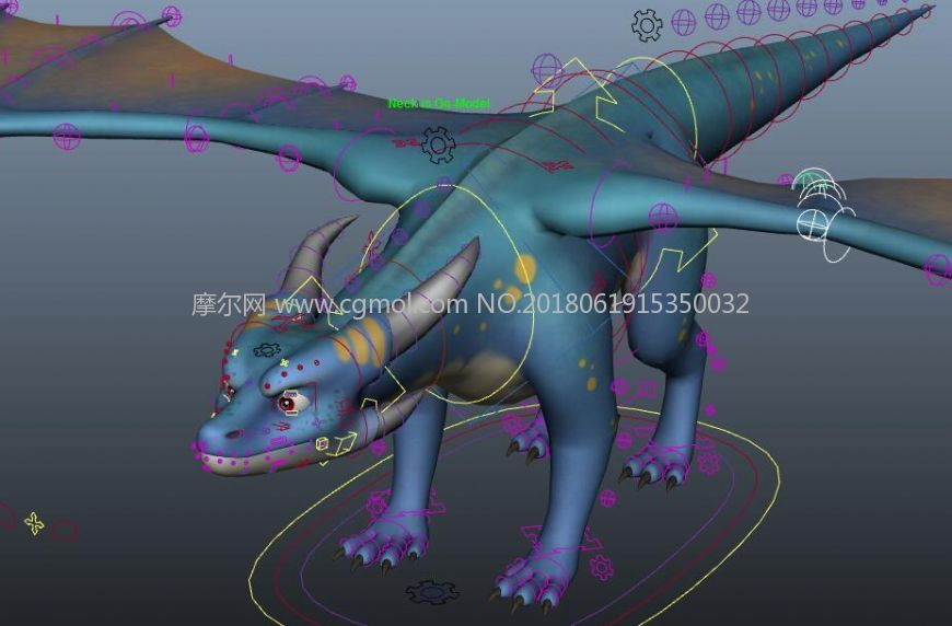 一个国外的飞龙绑定maya模型,有好几套颜色的皮肤(网盘下载)