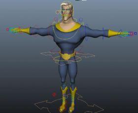 卡通超人带绑定的Maya模型