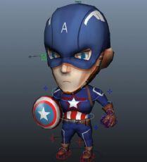 Q版美国队长maya模型,有绑定
