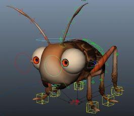 带绑定的卡通蟋蟀maya模型