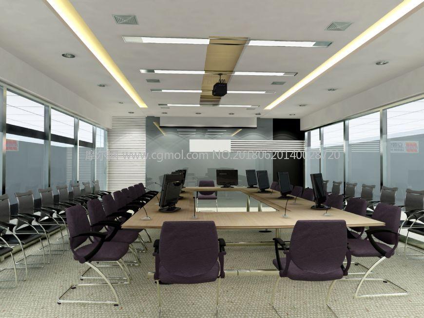 现代中型会议室,无贴图
