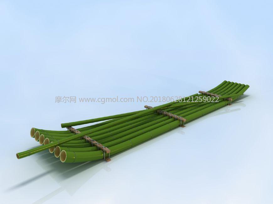 竹筏,竹排max模型