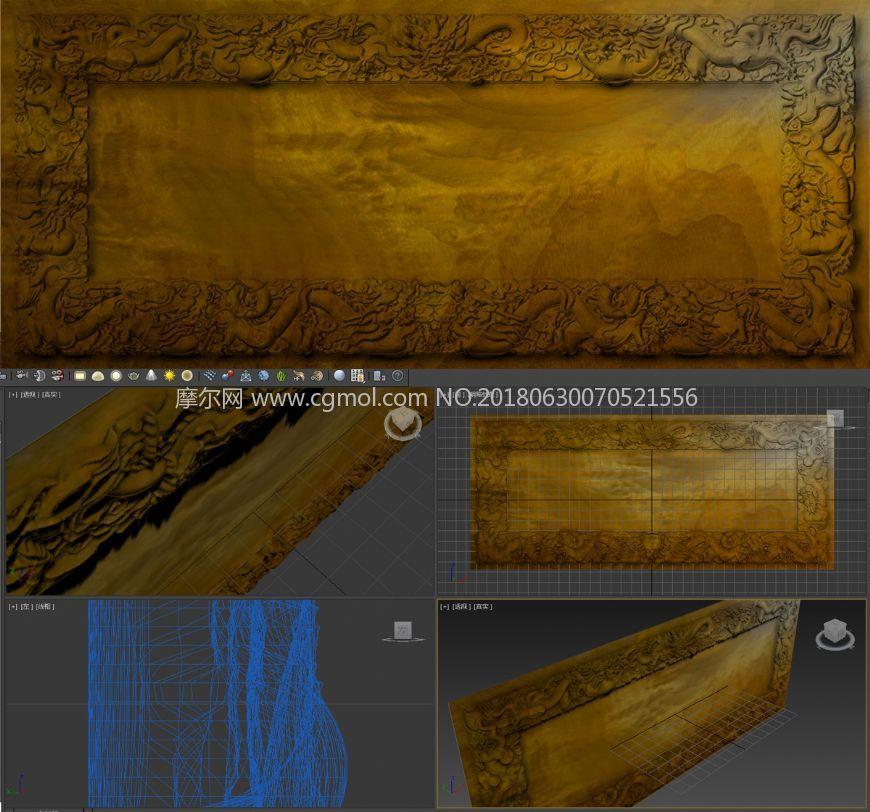 场景模型 其他场景  标签:动物龙雕木匾木纹木雕雕刻中国龙中国风祥云