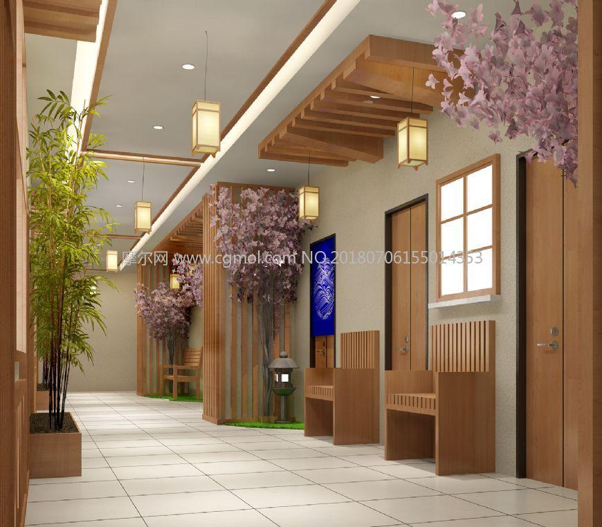 日式樱花竹子休息区走道