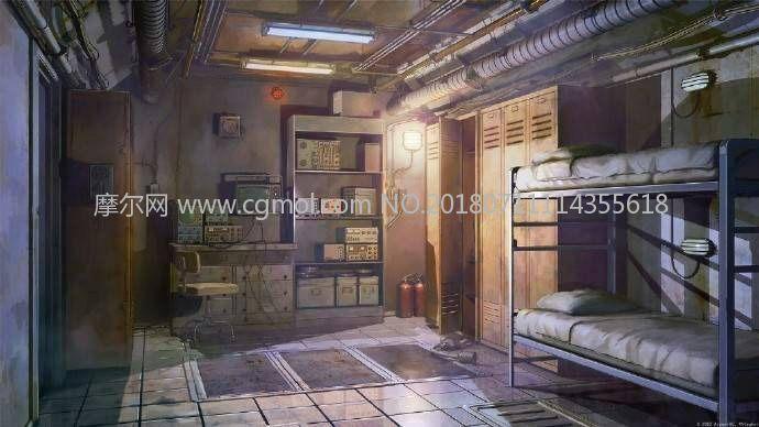 地下室宿舍,卧室,工业房间