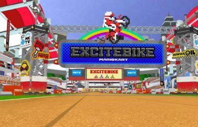 赛道,跑道,越野机车赛道,游戏卡通体育馆,MB,MAX,FBX,OBJ格式