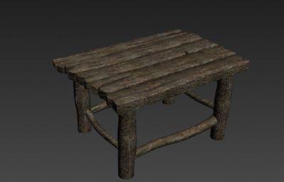 旧木桌,木凳FBX模型
