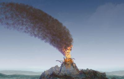 火山喷发粒子特效动画