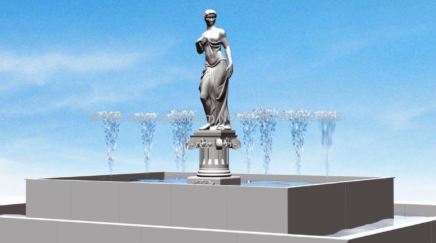 雕像��泉水柱特效�赢�