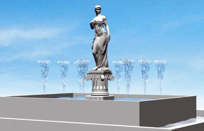 雕像喷泉水柱特效动画