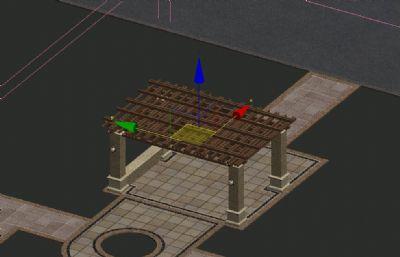 小区欧式花架,廊架,无贴图,无地面建模