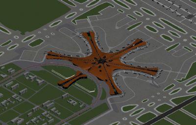 ?#26412;?#22823;兴国际机场鸟瞰max模型