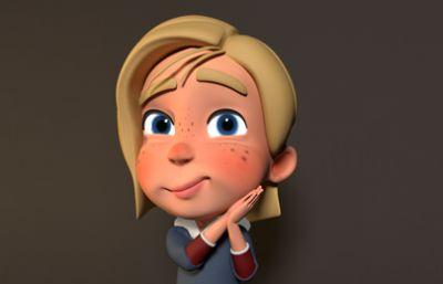 卡通女孩高精度绑定maya模型