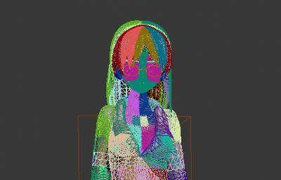 戴眼�R的少女max2012模型,�o�N�D