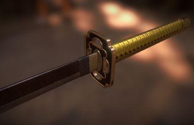 三日月宗近刀模型,东洋刀剑武士刀,日本国宝,mb,blend,dae,fbx格式