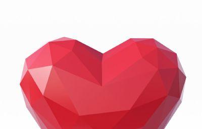 多边形棱角爱心浪漫爱情,max,fbx,obj等格式