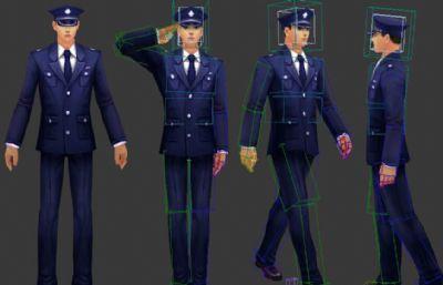 警察模型,�Ь炊Y,行走,右�D,聊天等�定�幼�