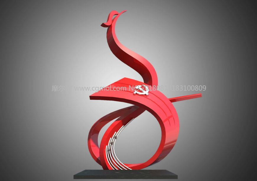 共产党凤舞九天雕塑设计,雕塑角色,动画角色,3d模型