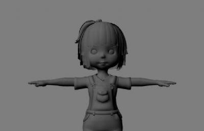 卡通小妹妹,小女孩maya模型
