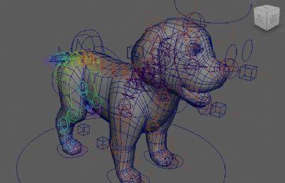卡通萌��狗狗�定maya模型