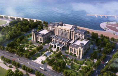 欧式海边酒店,无贴图